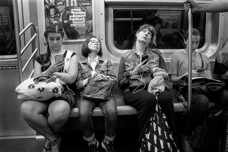 Four women Subway train